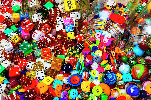 Marbles And Dice With Buttons by Garry Gay