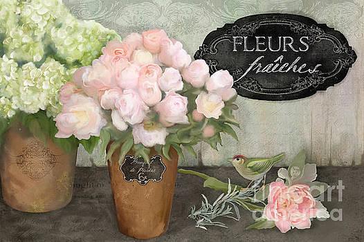 Marche aux Fleurs 2 - Peonies n Hydrangeas w Bird by Audrey Jeanne Roberts