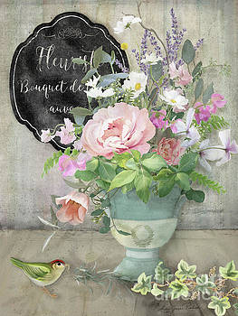 Marche aux Fleurs 3 Peony Tulips Sweet Peas Lavender and Bird by Audrey Jeanne Roberts