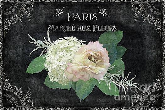 Marche aux Fleurs 4 Vintage Style Typography Art by Audrey Jeanne Roberts
