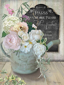 Marche Paris Fleur Vintage Watering Can with Peonies by Audrey Jeanne Roberts