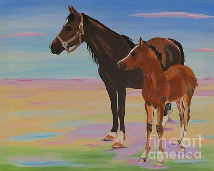 Mare And Colt by Phyllis Kaltenbach