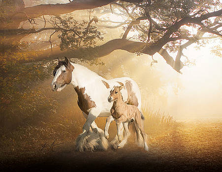 Mare and Foal I by Jamie Mammano