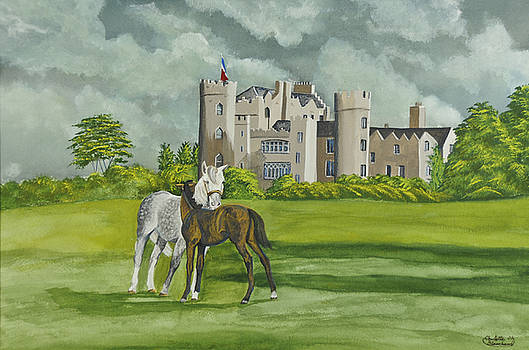 Mare And Foal On Castle Grounds by Charlotte Blanchard