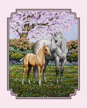 Crista Forest - Mare and Foal Pillow Pink