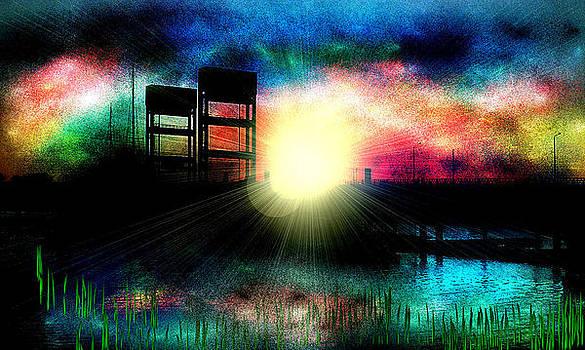 Mare Island Bridge Sunset by Kathleen Storey