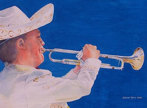 Mariachi Trumpeter by Celene Terry