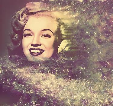 Marilyn Monroe abstract cosmic digital painting by Georgeta Blanaru