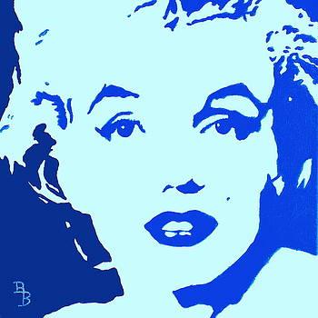 Marilyn Monroe Blue Pop Art Portrait by Bob Baker