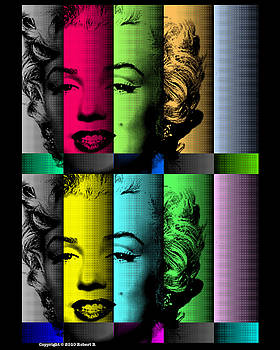 Marilyn Monroe TV TEST PATTERN at MIDNIGHT after WARHOL  by Robert R FINE ART POP PAINTINGS  by Robert R Splashy Art
