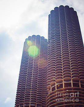 Marina City Towers in The Sun by Sonja Quintero