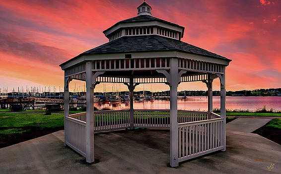Marina Gazebo Sunset by Rick Lawler