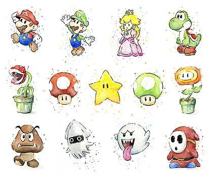 Olga Shvartsur - Mario Characters in Watercolor