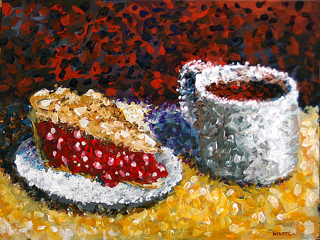 Mark Webster - Impressionist Cherry Pie with Coffee Acrylic Still Life Painting by Mark Webster