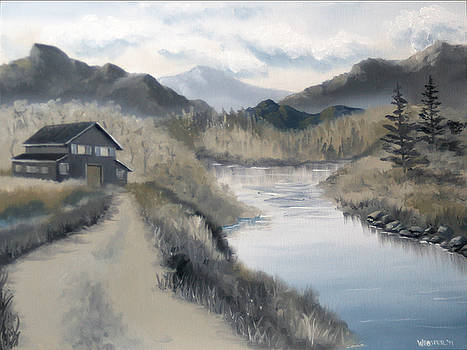 Mark Webster - Mountain Landscape Grayscale Oil Painting by Mark Webster