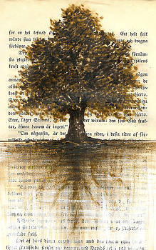 Marker Tree On Vintage Book Page by Greg Noblin