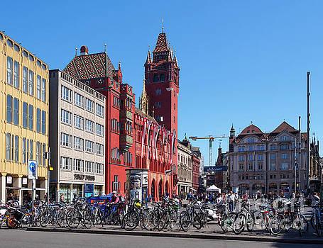 Marktplatz and Town Hall in Basel Switzerland by Louise Heusinkveld