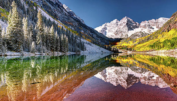 OLena Art Sunrise at Maroon Bells Lake Autumn Aspen Trees in The Rocky Mountains Near Aspen Colorado by OLena Art Brand