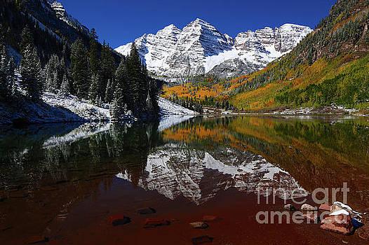Maroon Bells Snowy Autumn Reflection by Steve Boice