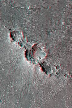 Mars Fresh Crater Chain Anaglyph by Ian Grasshoff