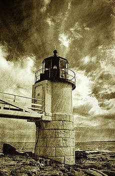 Marshall Point Lighthouse sepia distessed antique look by David Smith
