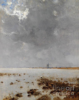 Marshland with Windmill by Bela Von Spanyi