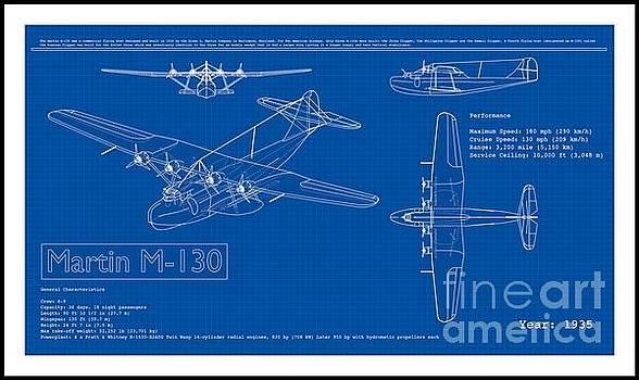 Martin 1935 M 130 Seaplane Blueprint by Peter Ogden