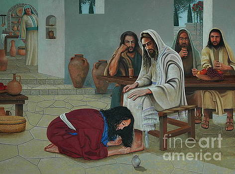Mary anoints the feet of Jesus by Michael Nowak