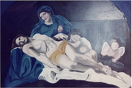 Mary Mourning Christ-wall painting by Marilyn  Comparetto