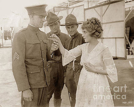 California Views Mr Pat Hathaway Archives - Mary Pickford  presenting a gold locket to Sergeant  Chas. R. Fulweiler 1917