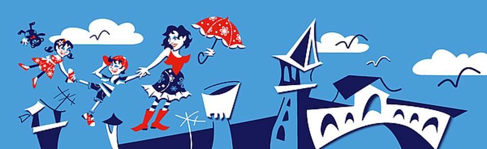 Arte Venezia - Mary Poppins flying in Venice Skyline