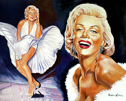 Marylin Monroe painting movie poster by Kostas Soutsos