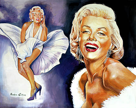 Marylin Monroe portrait painting by Kostas Soutsos