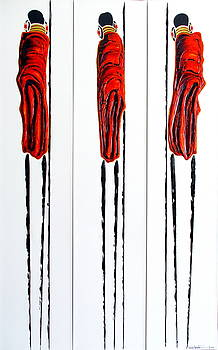 Masai Warrior Triptych - Original Artwork by Tracey Armstrong