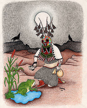 Masau'u Kachina-Life and death kachina by Alfred Dawahoya
