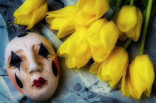 Mask With Yellow Tulips by Garry Gay