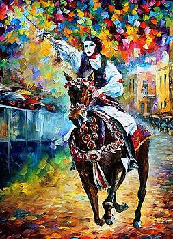 Masked Horseman - PALETTE KNIFE Oil Painting On Canvas By Leonid Afremov by Leonid Afremov