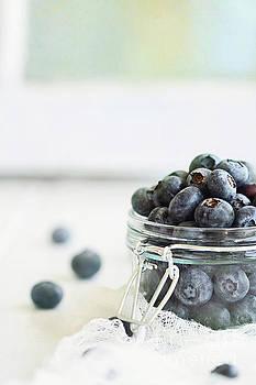 Mason Jar Full of Blueberries by Stephanie Frey