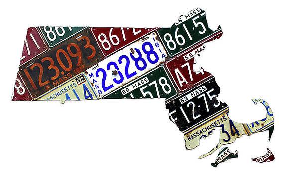 Design Turnpike - Massachusetts Map Recycled Vintage License Plate Art on White