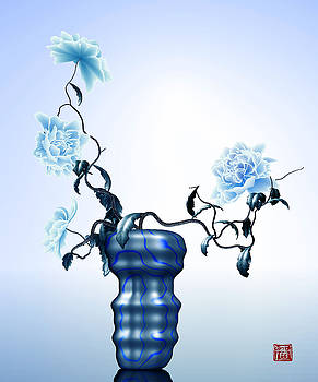 Math flowers in blue 1 by GuoJun Pan