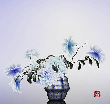 Math flowers in blue 2 by GuoJun Pan