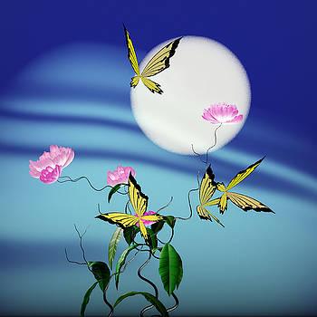 Math peony and butterfly by GuoJun Pan