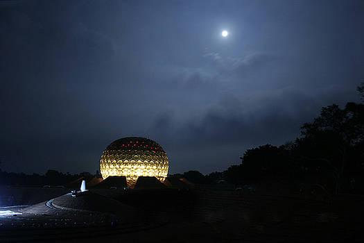 Matrimandir on a moonlit night by Arvind T Akki