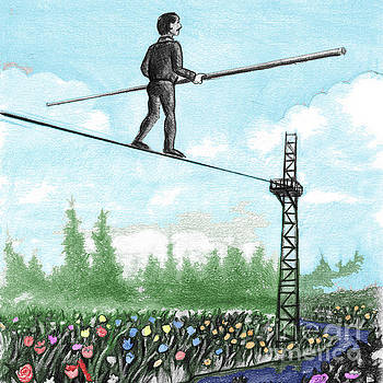 Mature Man Walking a Tightrope above Flowers by Lee Serenethos