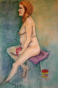 Mature Model Molds Play-dough While Posing Nude by Edward Corpus