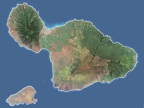 Maui and Kaho olawe - Satellite Map by Ian Grasshoff