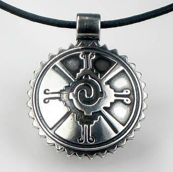 Mayan Hunab Ku Shaman Tribal Sterlng Silver Pendant by Virginia Vivier