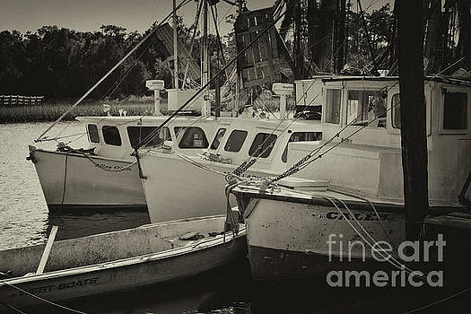 Dale Powell - McCellanville Shrimp Boats in Sepia