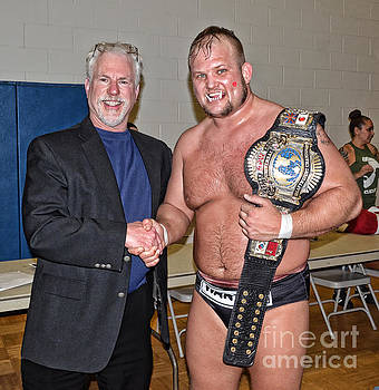 Jim Fitzpatrick - Me and World Heavyweight Wrestling Champion War Pig Jody son of Kris Kristofferson