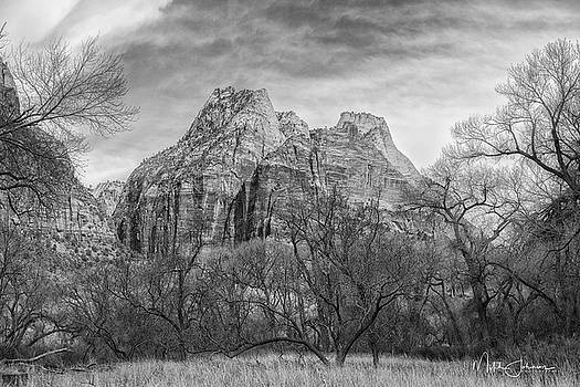 Meadows and Red Cliffs BW by Mitch Johanson